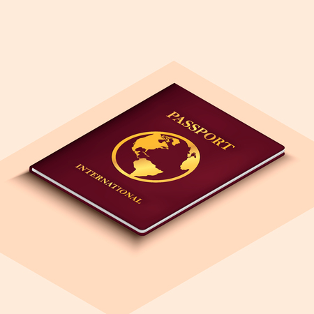 3d international passport concept in isometric style with shadows, vector illustration Ilustracja