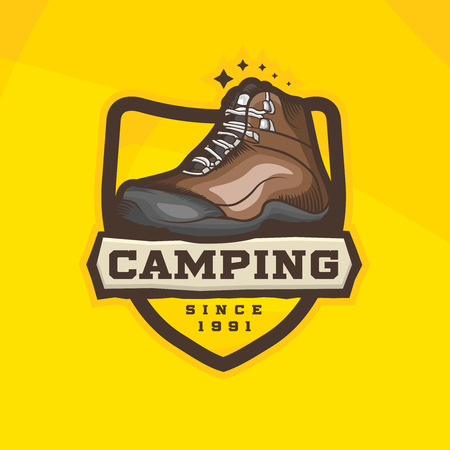 Vector cartoon hiking shoes logotype. Trekking boots on Camping logo concept. Ilustracja