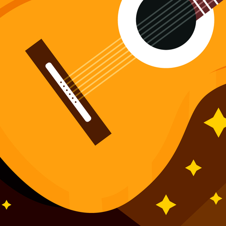 Macro art of realistic classical or acoustic guitar, vector stock