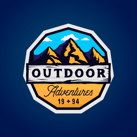 Outdoor camp and mountains logotype, outdoor adventures modern colorful badge with rocky shape, clouds and wooden textured place for texts Zdjęcie Seryjne - 106200385