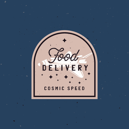 Food delivery badge logo concept with space shuttle symbolized fast and fresh hot food delivery