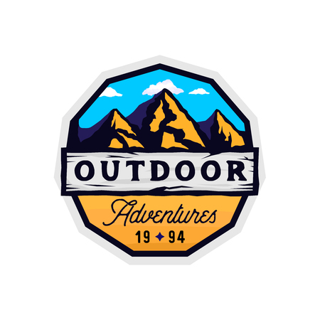 Outdoor camp and mountains logotype, outdoor adventures modern colorful badge with rocky shape, clouds and wooden textured place for texts