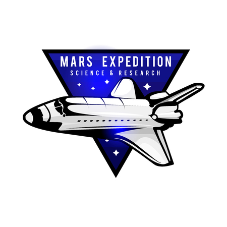 Space mission to Mars vector logotype concept with space shuttle. Blue colors in priority. Mars expedition logo concept with space shuttle.  Space mission badge for  for expeditions, events, apparel, banners etc