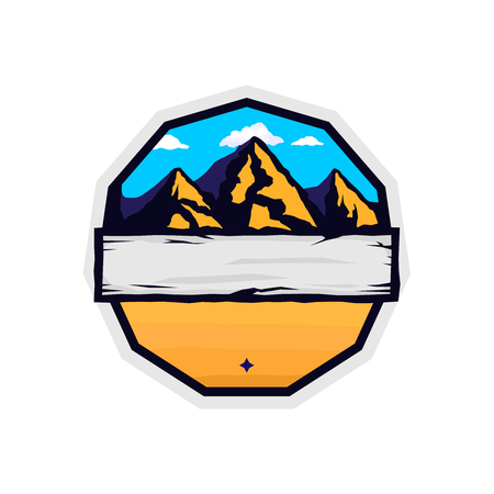 Vector vintage badge blank template with mountains and place for text. retro colored styled sticker for expeditions, events, apparel, banners etc Ilustracja