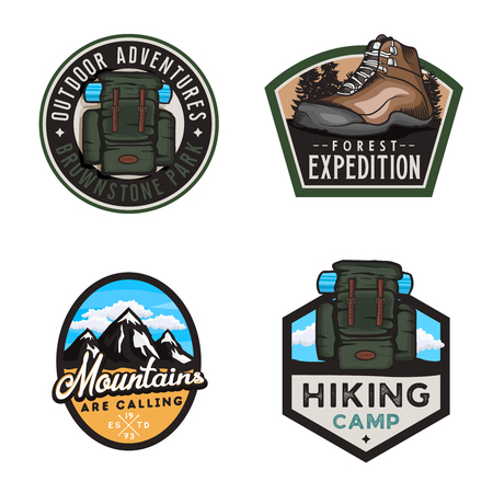 Travel badges and stickers with hike themed design elemets: hiking climbing shoe, travel backpack, mountain shapes. Ilustracja