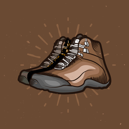 Vector cartoon hiking shoes. Trekking boots with sunburst on the background. Perfect design elements for travel emblems. Dark background version