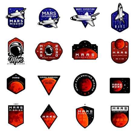 Bundle of mars expedition logos concept with space shuttle. Space mission badges for  for expeditions, events, apparel, banners etc Banco de Imagens - 106200394