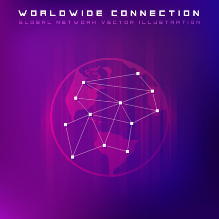 Point and line composed world map representing the global network connection. Concept of global business vector concept. Dark version Ilustracja