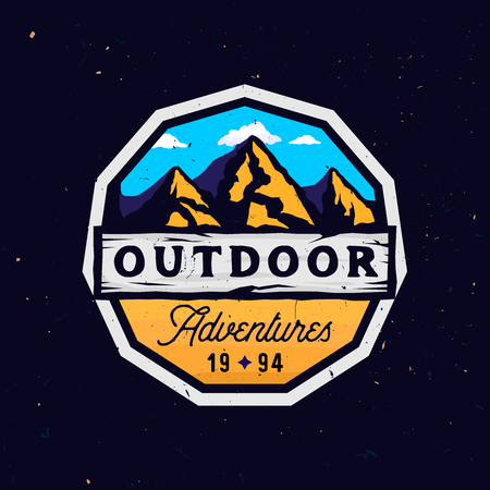 Outdoor camp and mountains logotype, outdoor adventures modern colorful badge with rocky shape, clouds and wooden textured place for texts, vintage version of logo