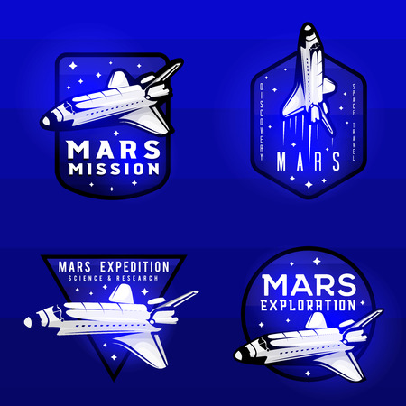 Glow effect on space mission to mars logotypes with space shuttle