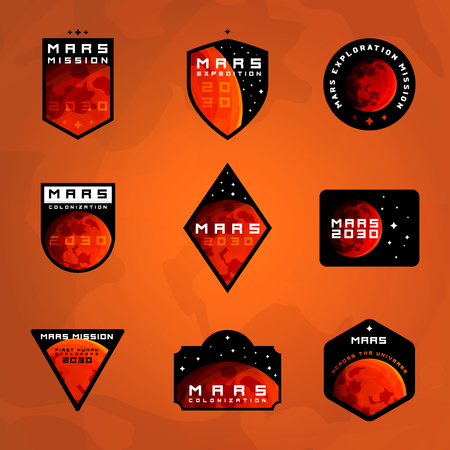 Set of space exploration badges. Flight to Mars stickers collection