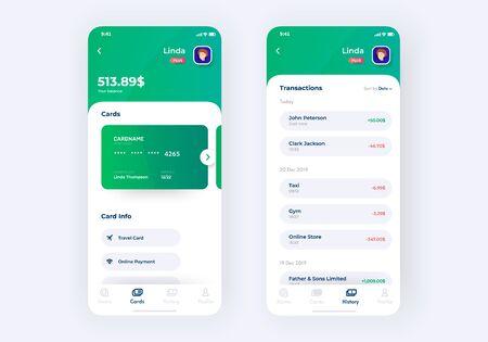 Banking app UI kit prototype. UI design of mobile finance application.