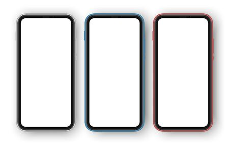 Set of three differently colored smartphones with white blank screens. Frameless cellphones isolated with screen for your contect. Cellphone mockup. vector illustration