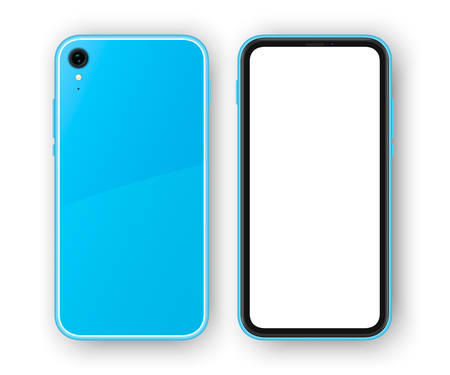 Blue frameless smartphone, back and front view. High detailed realistic phone