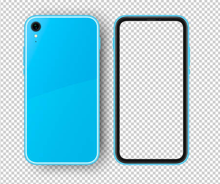 Smartphone with transparent screen. Blue phone with back and front view. High detailed light blue smartphone Illustration