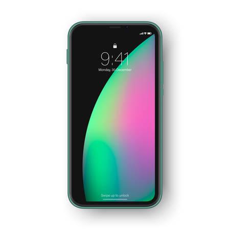 Frameless smartphone, lock screen with interface elements as time,. Realistic high detailed green frameless phone Ilustração Vetorial