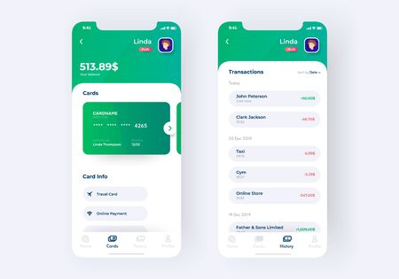 Banking app UI kit prototype. UI design of mobile finance application. UI UX design of main screen and transaction page of banking app, vector illustration