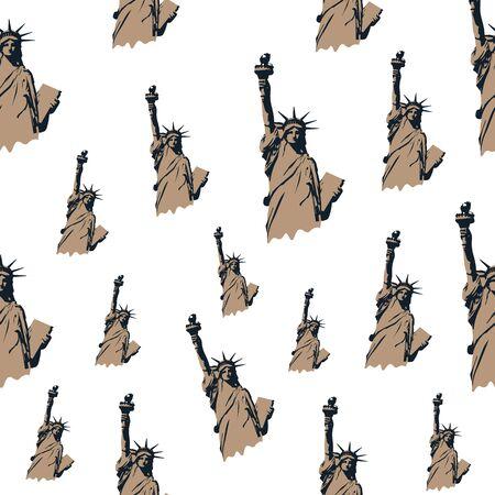 Vector seamless pattern using Statue of Liberty. New york themed pattern. Big apple themed seamless pattern