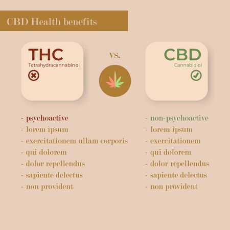 Infographic illustration about THC and CBD differences