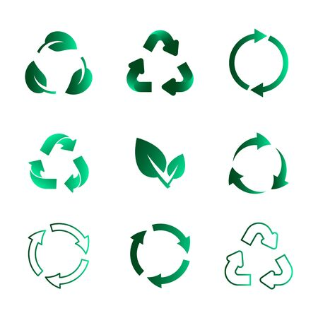 Set of recycling icons. Biodegradable, recyclable, compostable, reuse icons. Vector Illustration