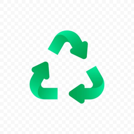 Recycling icon isolated. Vector biodegradable, recyclable, compostable, sustainable label. Green environmental badge. Triangle circulated arrows with beautiful gradient effect. Green theme