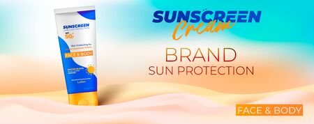 Sunscreen cream horizontal ads banner. Sun care sunscreen poster with realistic 3d cosmetic tube. Beach background with sand. Ready for print design, vector 矢量图像