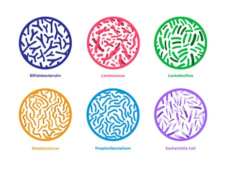 Set of probiotics icons. Different good bacterias isolated on white background Ilustração