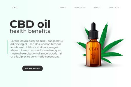 CBD oil website page template with realistic 3d oil dropper bottle and cannabis leaf. Realistic style.