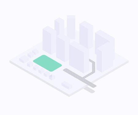 small isometric city concept with buildings, roads, small houses and green zone
