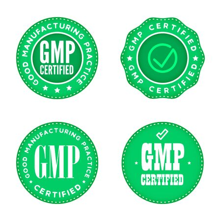 GMP Good manufacturing practice industrial green marks. Certified Product.