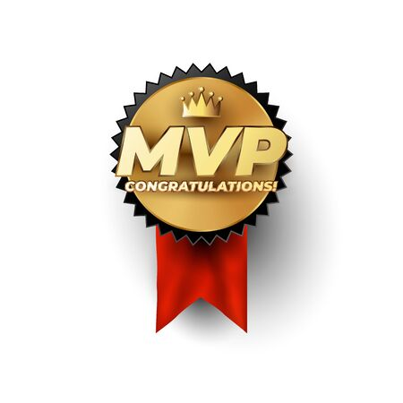 MVP Most Valuable Player gold badge concept with champion crown above the luxury gold styled MVP phrase