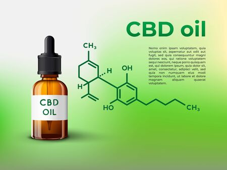 Cbd oil bottle infographic illsutration with CBD molecule and place for your text Ilustrace