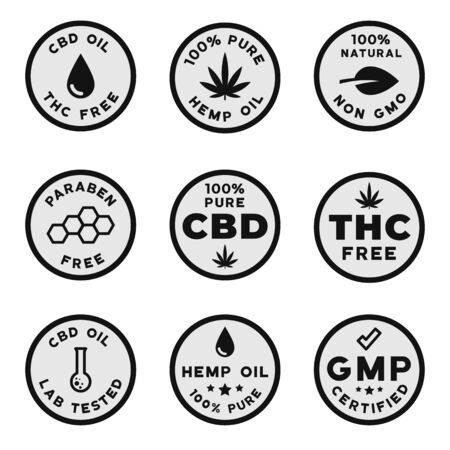 Set of CBD themed logotypes: GMO free GMP certified CBD oil, THC free, paraben and pesticides free badges