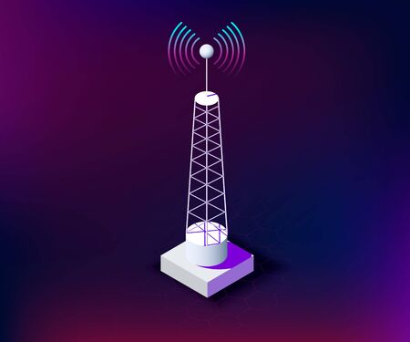 isometric telecommunication tower with connection waves, dark background. communication tower for network technologies