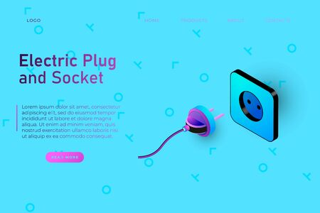 Electic plug and socket illustration, webpage template for electronic stores