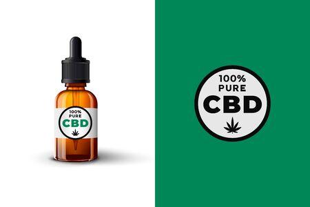 CBD oil design concept. Vector 3d glass dropper bottle of CBD oil with CBD 100 percent pure sign, emblem, badge, label.