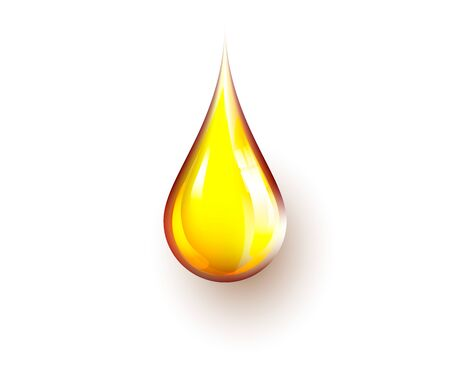 realistic yellow oil drop isolated on white background. patch of reflected light on oil drop. High detailed realistic drop, vector. Perfect for cooking projects, petrol and fuel illustrations.. Illusztráció