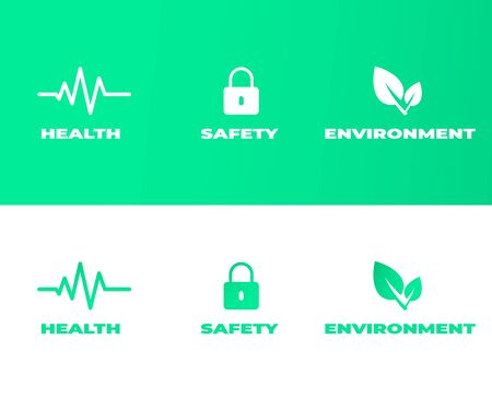 HSE pictograms concept. Health Safety Environment themed icons on green and white background. Vector