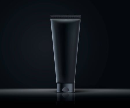 Realistic 3d black cosmetic tube mock up. Dark themed illustration. Dark background. Realistic 3d cosmetic package ready for your design. Principally prepared for luxury design in black tones. Vector