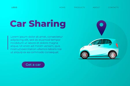 Car sharing service. Automation wireless online car sharing service managed by smartphone app. Car with geo tag illustration, smart city eco car side view with location mark. Website page template.