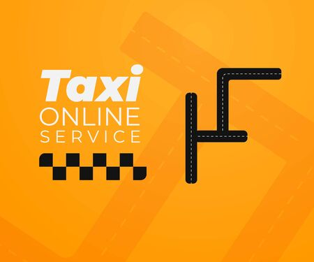 Taxi Online Service poster concept with dark road and yellow background. Perfect for ads banners, ready for apps.
