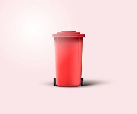 Red garbage container isolated on light red background. 3d realistic garbage tank with wheels and lid.