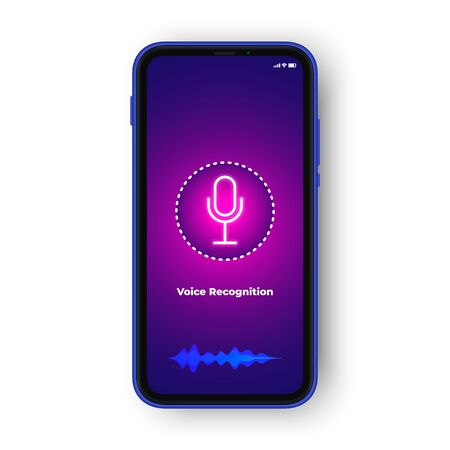 Voice recognition or voice assistant ui design concept. Realistic phone. Voice icon and audio wave, voice assistant application concept. vector Çizim