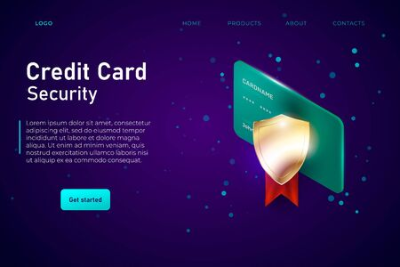 credit card security weebpage template, landing concept with golden protection shield. Digital security system of online payments, safety protocol. Vector Ilustracja
