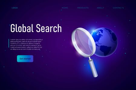 Global Search webpage landing template, vector illustration. Large magnifier and 3d earth isometric.