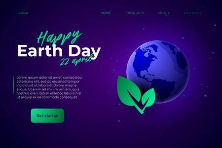 happy Earth Day 22 april webpage landing template. 3d aerth and gradient leaf.