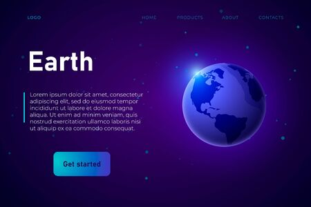 Earth themed landing page template in neon violet style, 3d earth icon as a main object of the illustration.