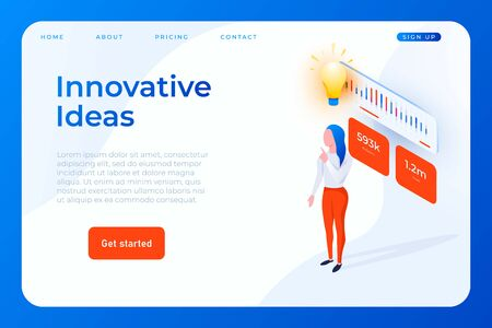 innovative ideas web landing page template with woman character with lightbulb idea symbol Ilustracja