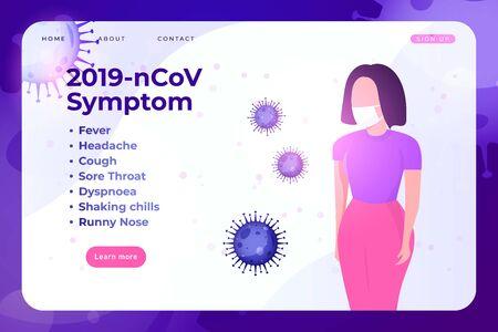 Coronavirus symptom infographic with doctor in mask.