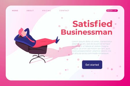 satisfied businessman in office chair. successful employee who solved the crative problem Ilustracja